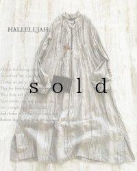 HALLELUJAH/1890's Bourgeron 1890年代 羊飼いシャツワンピース・grey stripe