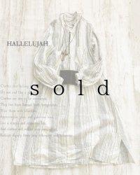 HALLELUJAH/1890's Bourgeron 1890年代 羊飼いシャツワンピース・off white stripe