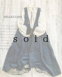 HALLELUJAH/Robe de femme de chambre no.4 小間使いローブ・navy stripe