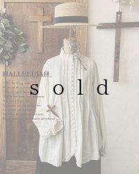 HALLELUJAH/Chemisier à plis d'époque プリーツシャツ・off white