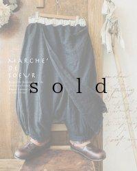 MARCHE' DE SOEUR/ウールヘリンボンリネンのタブリエパンツ・濃紺(75cm丈と85cm丈)