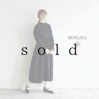 MAGALI /東炊きコットンビエラ クラシックワンピース・ブラック
