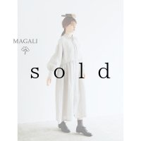 MAGALI /シャンブレーリネン比翼ギャザーワンピース・ライトグレー