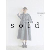 MAGALI /スラブリネンギャザーワンピース・フォグブルー
