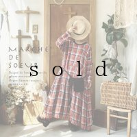 MARCHE' DE SOEUR/種蒔きポケットワンピース・赤チェック