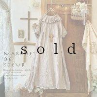 MARCHE' DE SOEUR/タック襟の半袖ワンピース・ファナージュピンク