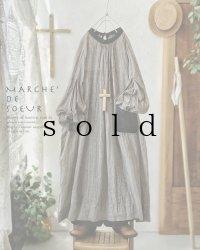 MARCHE' DE SOEUR/後ろりぼんギャザーワンピース・黒×セピア