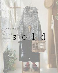 MARCHE' DE SOEUR/ラッフル襟パフ袖プルオーバー・ギンガム