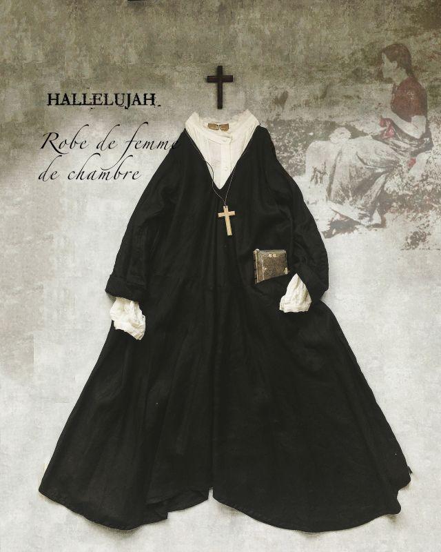 "Hallelujah Robe De Femme De Chambre Å°é–""使いローブ Black Marche De Soeur"